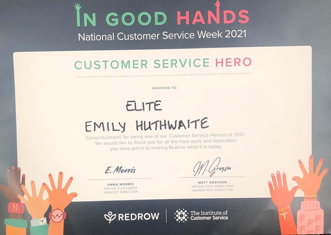 Emily Huthwaite Customer Service Hero